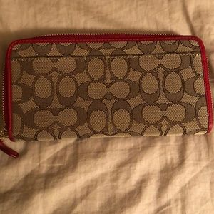 Coach Bags - COACH signature fabric wallet w/ read leather trim